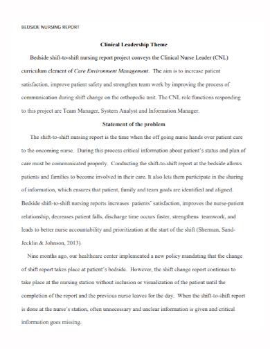 bedside nursing report problem statement