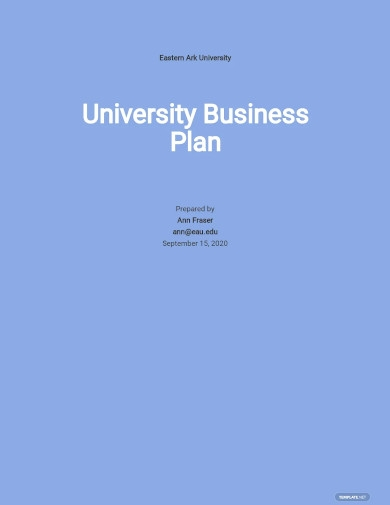 blank university business plan