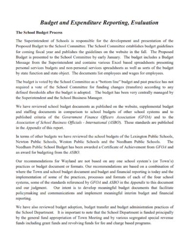 budget expenditure evaluation report