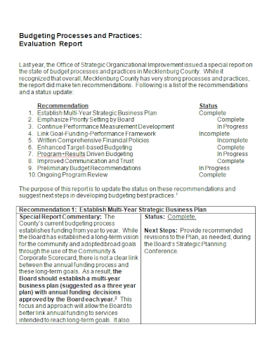 budget process evaluation report