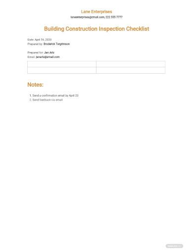building construction inspection checklist