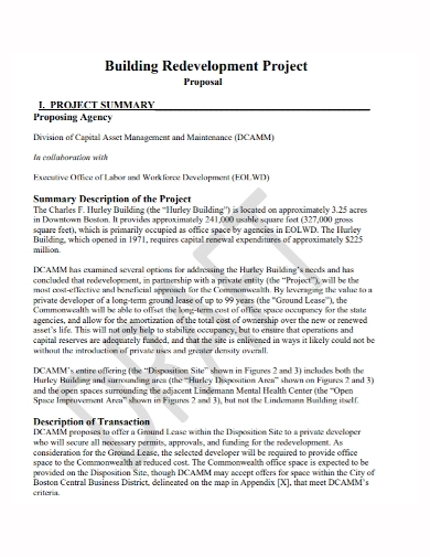 building redevelopment project proposal