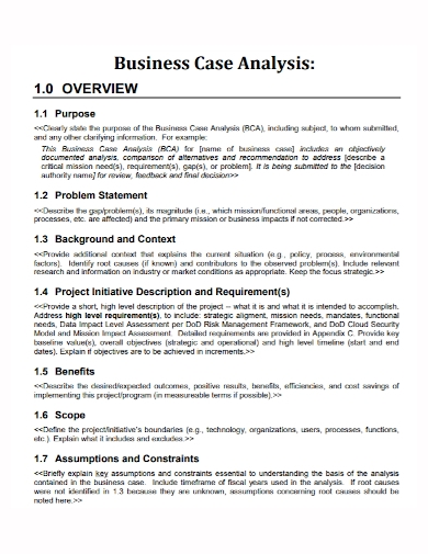 business case analysis problem statement