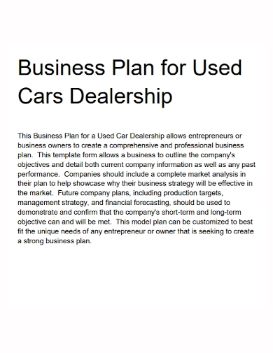 business plan for used car