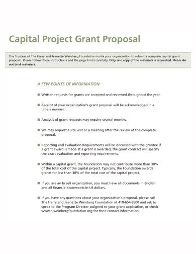 capital project grant proposal