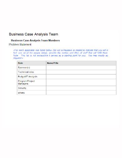 case analysis team problem statement