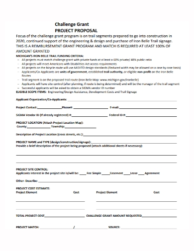 challenge grant project proposal