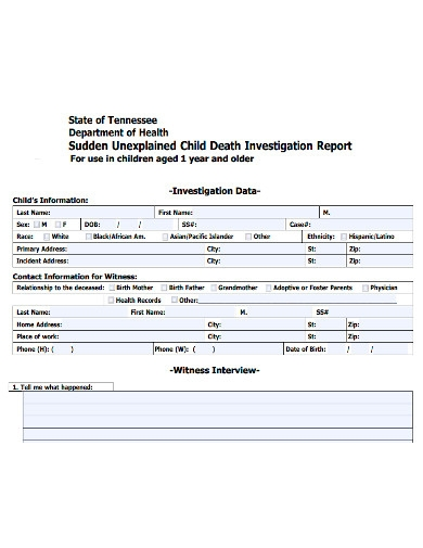 child death investigation report