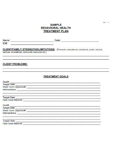 client behavioral treatment plan