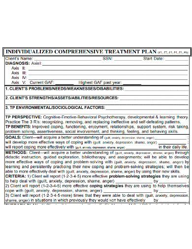 client comprehensive treatment plan