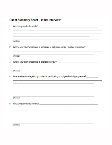 client interview summary sheet