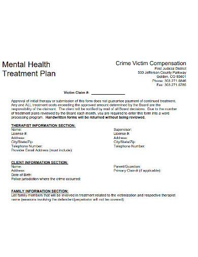 client mental health treatment plan