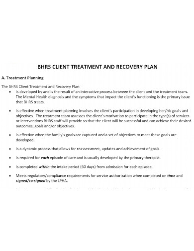 client treatment and recovery plan