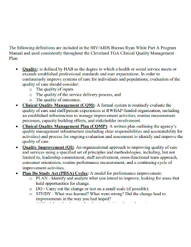clinical quality management plan format