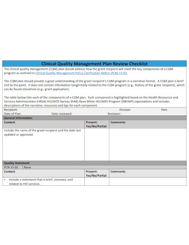 clinical quality management plan review checklist