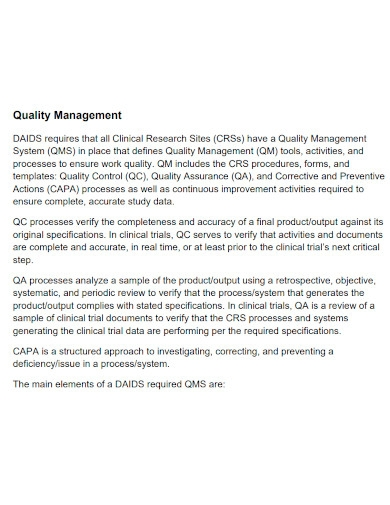 clinical research quality management plan