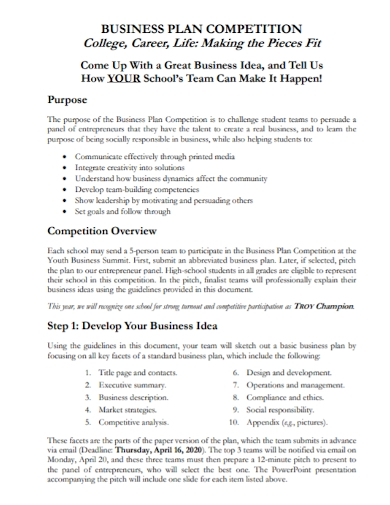 college competition business plan