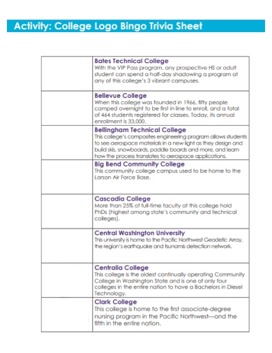 college logo activity sheet