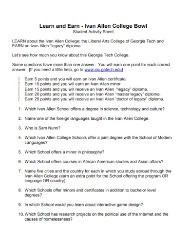 college student learn and earn activity sheet