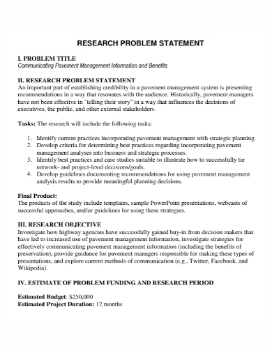 communication research problem statement