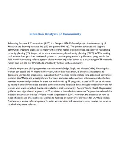 community situational analysis