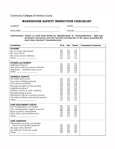 community warehouse safety inspection checklist
