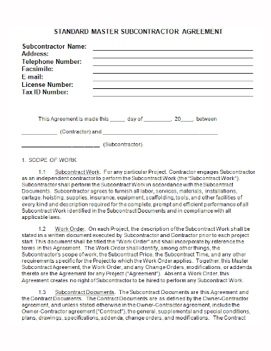 company standard subcontractor agreement
