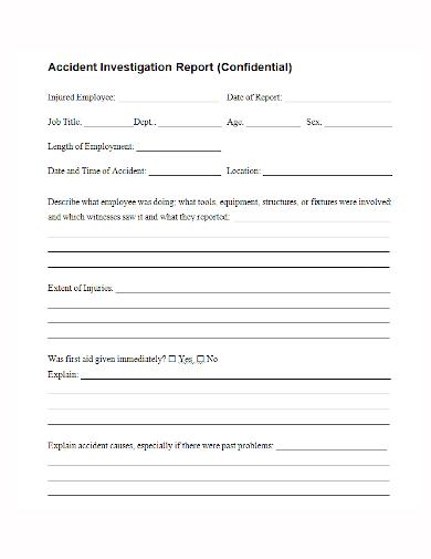 confidential accident investigation report