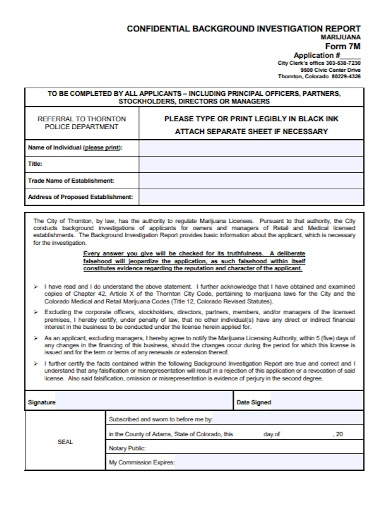 confidential background investigation report