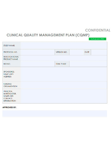 confidential clinical quality management plan