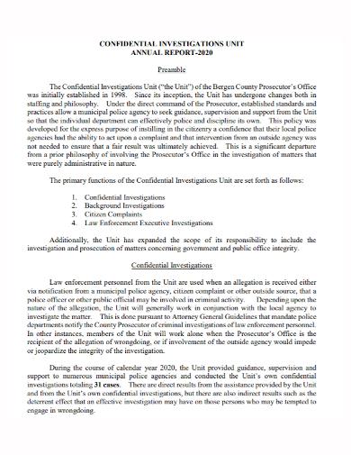 confidential investigation annual report