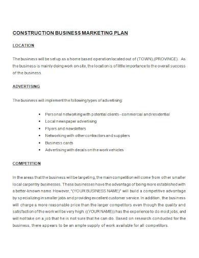 construction business marketing plan