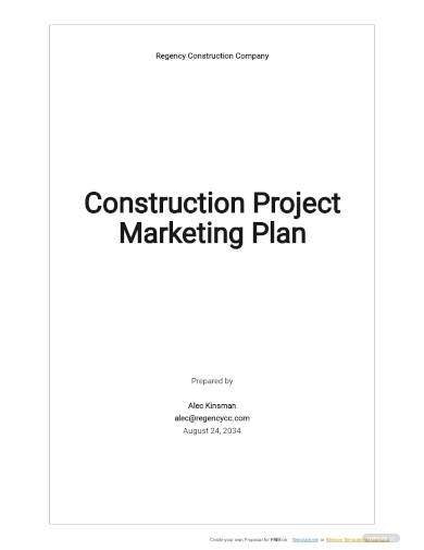construction project marketing plan template