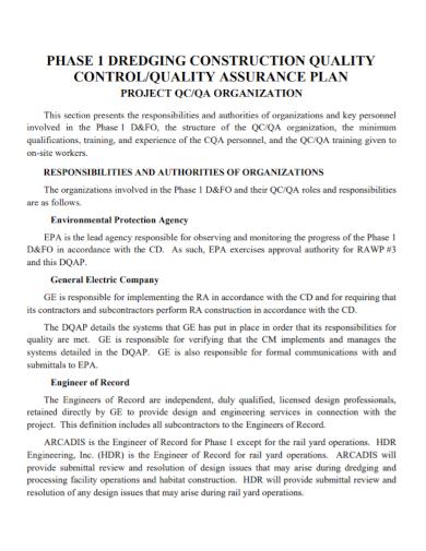 construction quality organization project plan