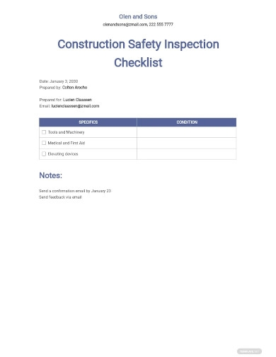 construction safety inspection checklist