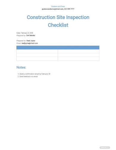 construction site inspection checklists