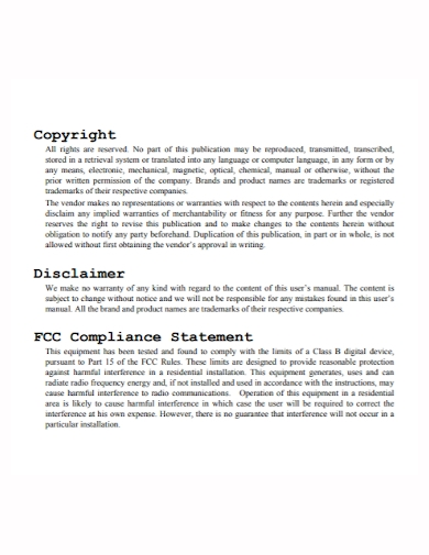 copyright disclaimer compliance statement