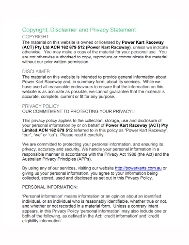 copyright disclaimer privacy protection statement