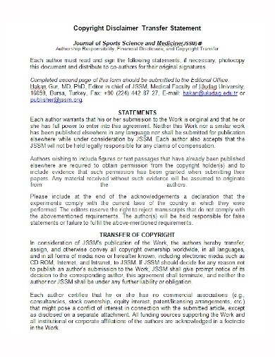 copyright disclaimer transfer statement