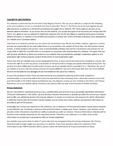 copyright legal disclaimer privacy statement