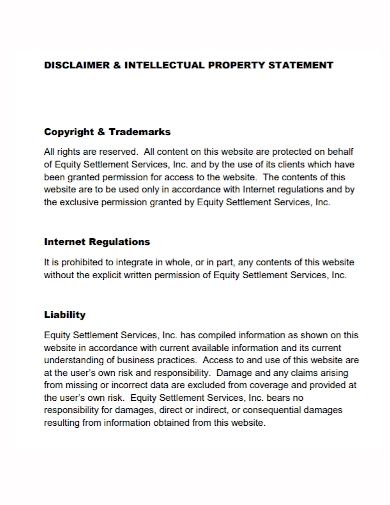 copyright trademark disclaimer property statement