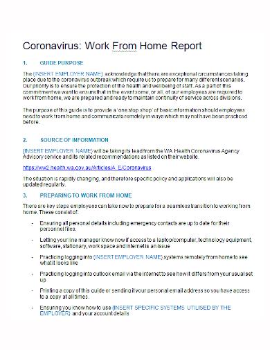 coronavirus work from home report