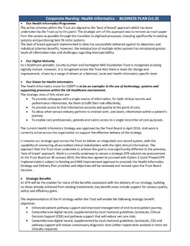 corporate nursing business plan