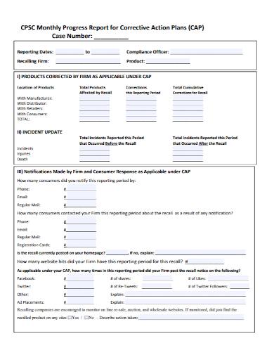 corrective action plan monthly progress report