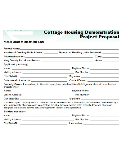 cottage housing demonstration project proposal