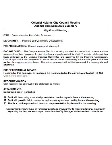 council meeting executive summary