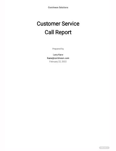 customer service call report template