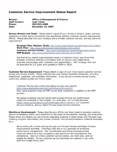 customer service improvement status report