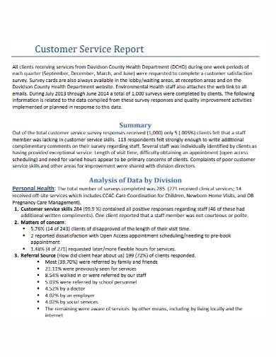 customer service summary report