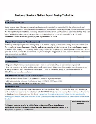 customer service technician civilian report